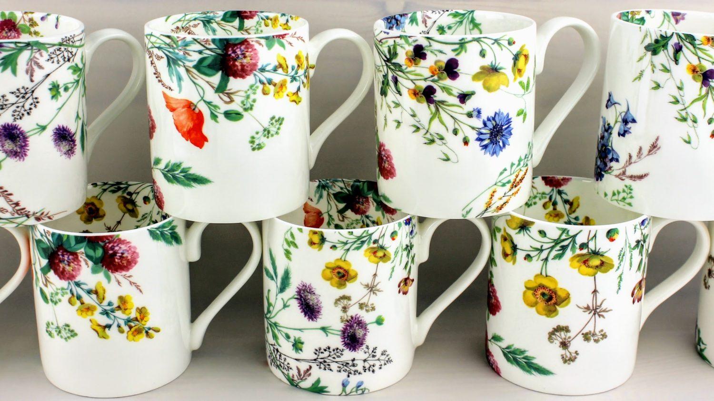 mugs english bone china, field fowers, corncockle, kingcup, clover red campion