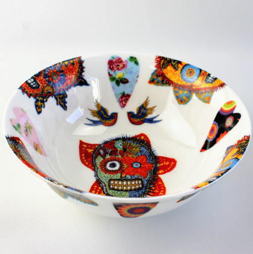 desert bowl bone china with sugar skulls, hearts and blue birds