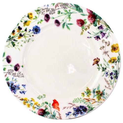 10 inch dinner plate, english field flowers, field poppy, meadow buttercup, field scabious