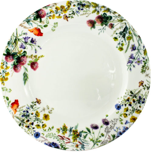 round platter, bone china, meadow flowers, violas, red campion, buttercups