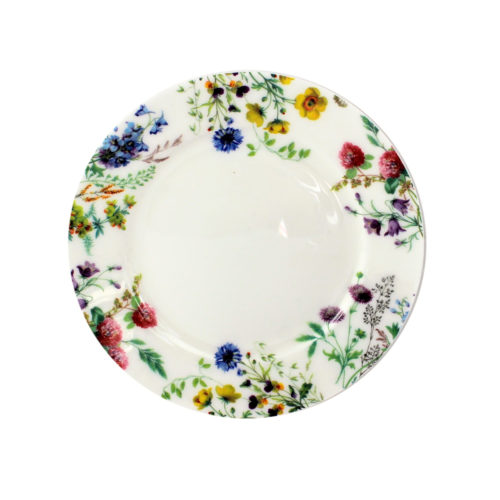 6 inch english bone china plate, flowers of the fields, cornflower, buttercup, red clover