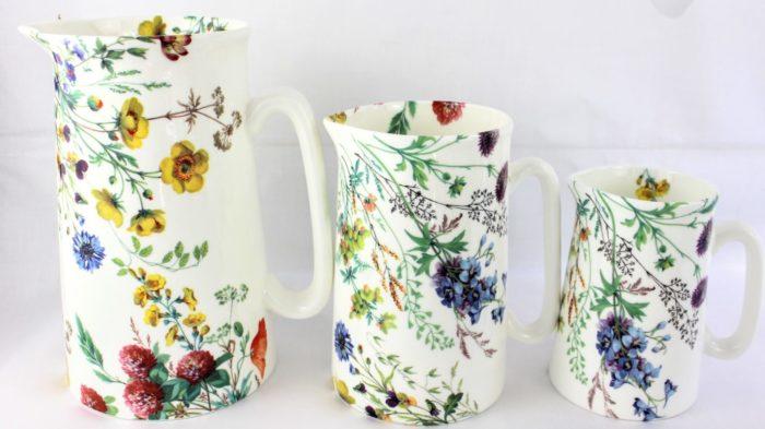 three bone china jugs, field flower design, buttercups, clover, cornflower, field scabious and corncockle