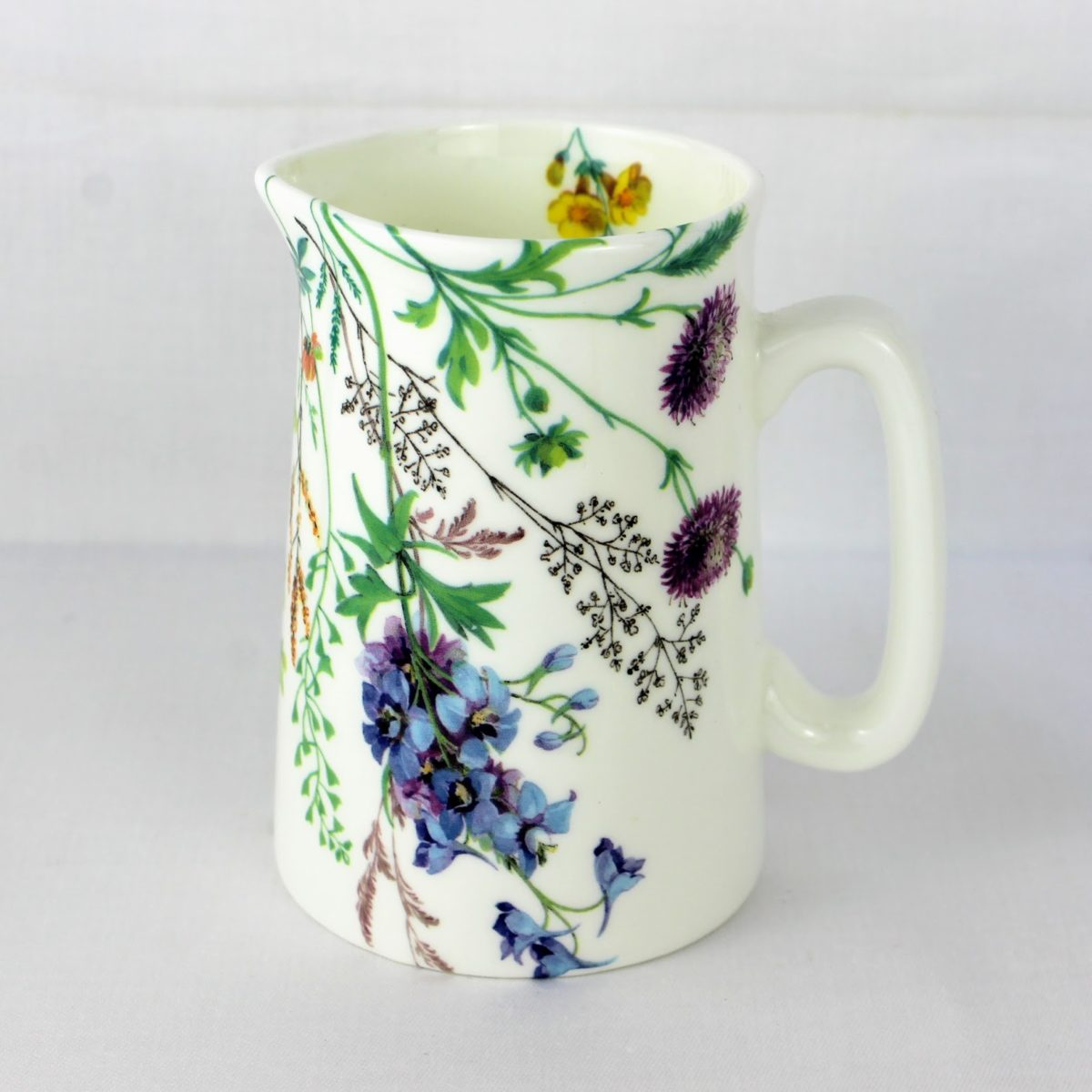 bone china milk jug, meadow flowers, yellow rattle, cornflower, and columbine
