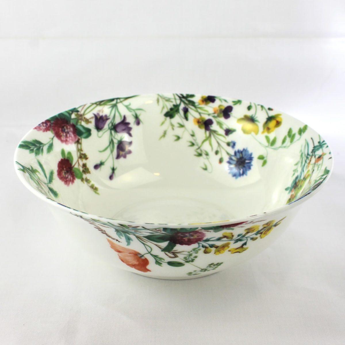 7 inch bone china desert bowl, meadow flowers, violas, red clover, corn flowers