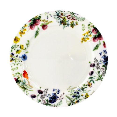 8 inch bone chine side plate, english meadow flowers, columbine, clover, harebell, yellow rattle