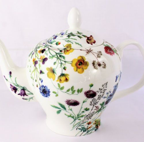6 cup english bone china teapot with field flowers, meadow buttercups, red clover and cornflowers