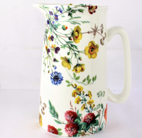 2 pint jug with buttercups and red clover