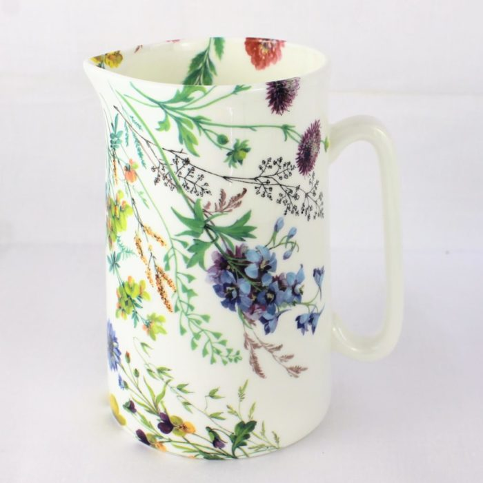 1 pint ceramic jug with meadow flowers, red clover, kingcup, violas and agrimony