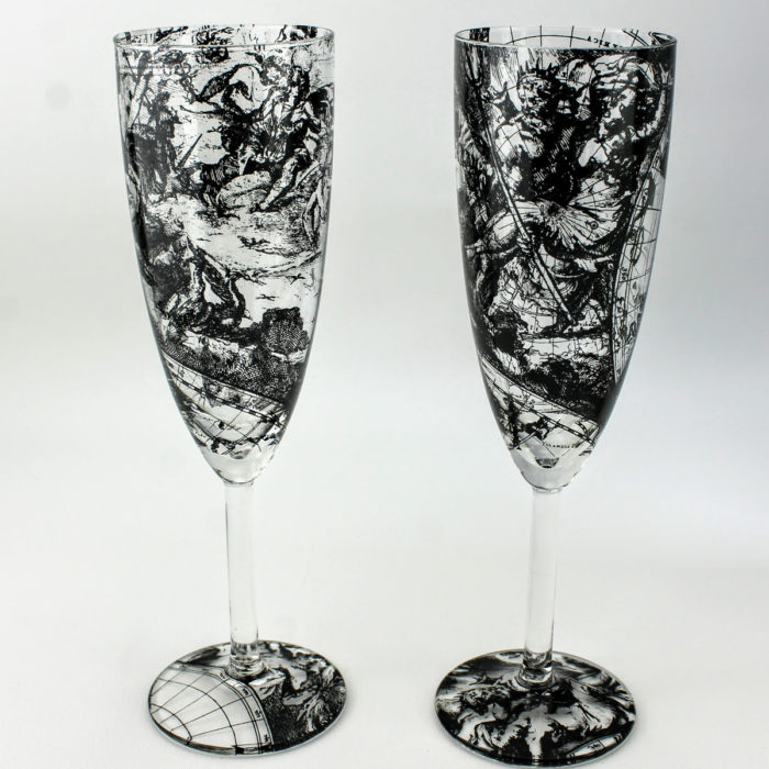 Champagne flute glasses with 17th century world map design, Apollo and hermes & Ares the god of war