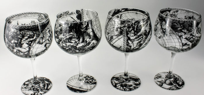 4 Gin & Tonic glasses decorated with sections of dutch 'golden age' map
