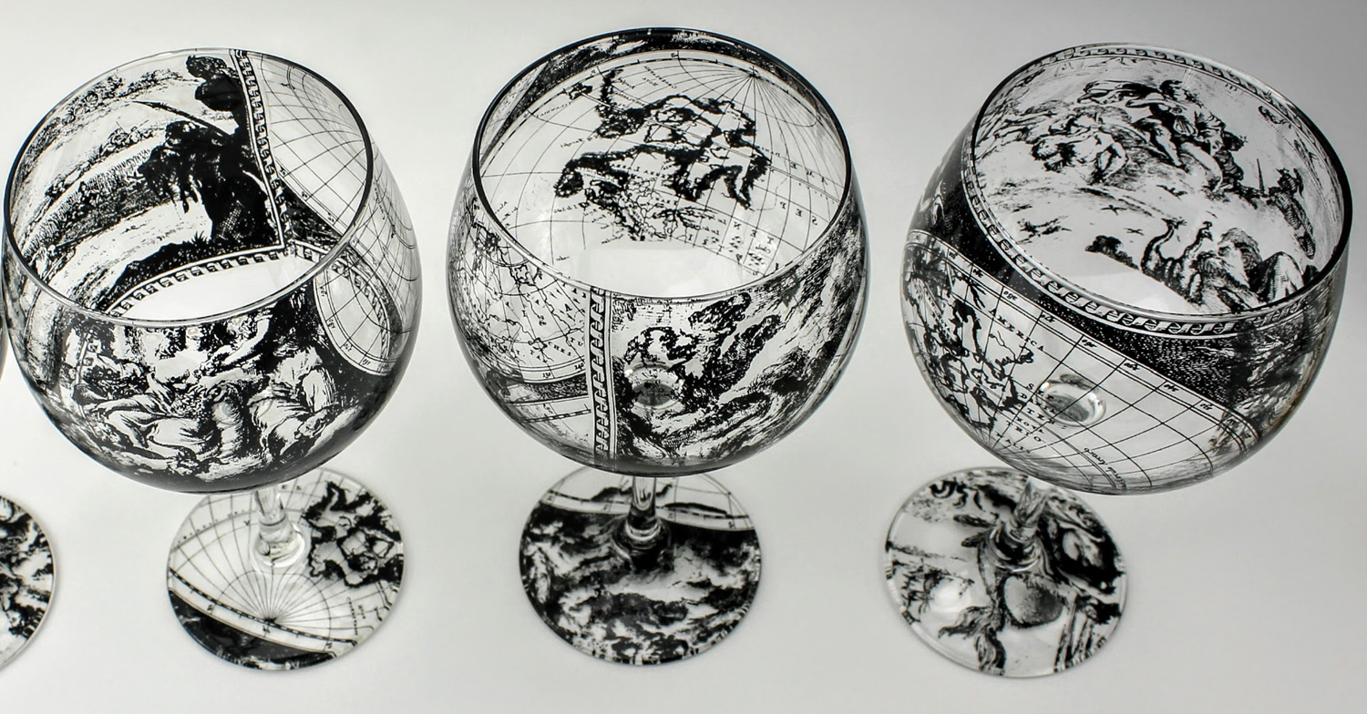 3 gin and tonic cocktail glasses antique world map design