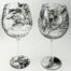 Wine glasses stemware Antique world map design