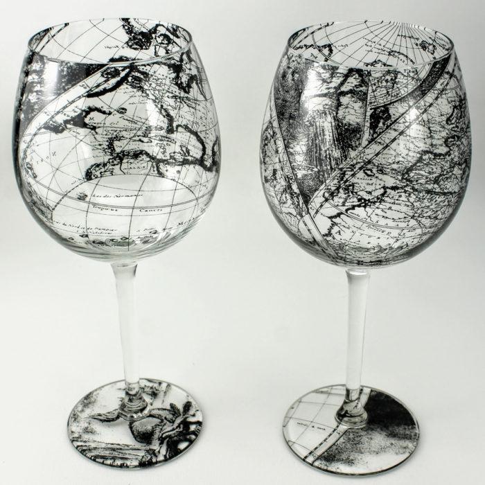 Wine glasses stemware Antique world map design