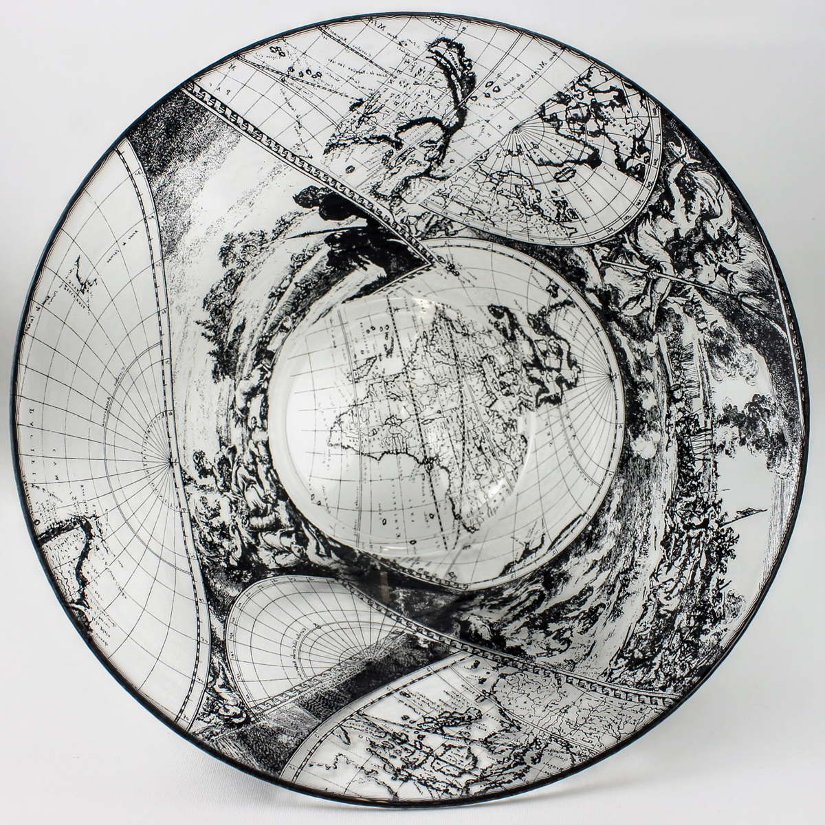 Large glass bowl features scenes from a antique Dutch world map