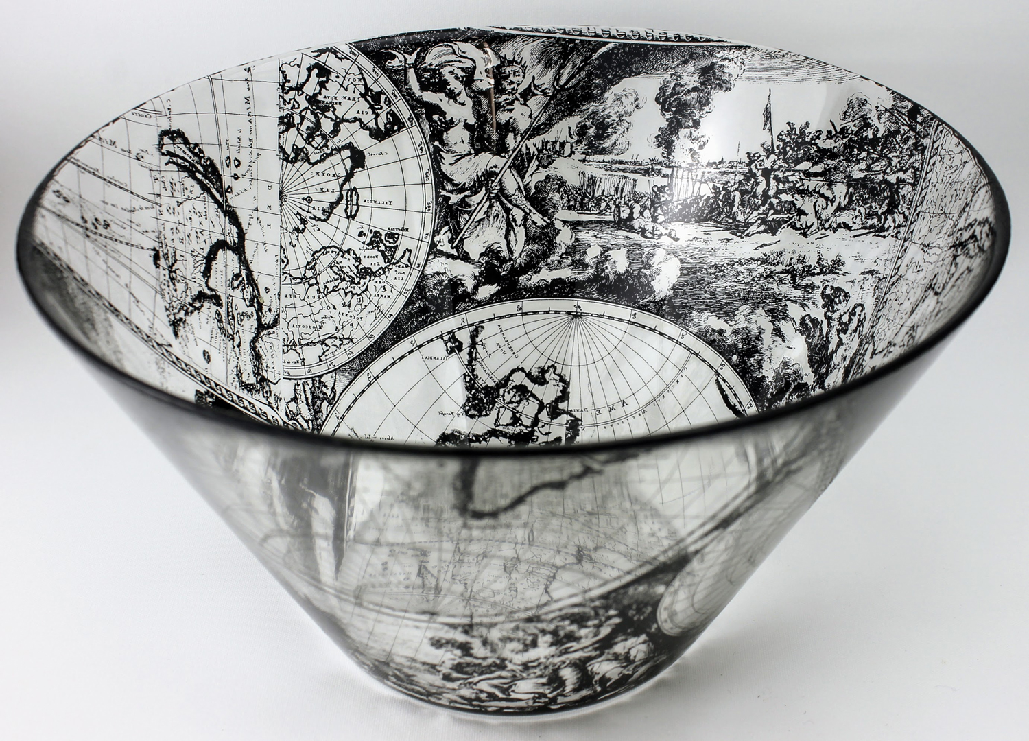 Large glass bowl with allegorical scenes from a 17th century world map with Ares the god of war