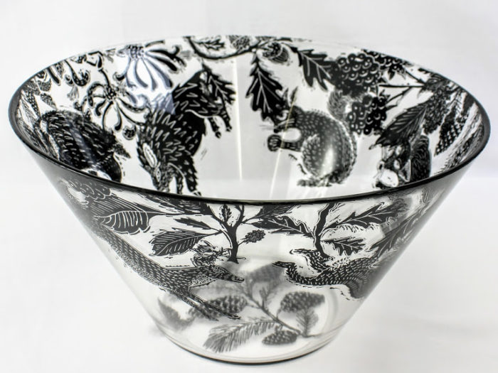 large glass bowl woodland with british wild animals