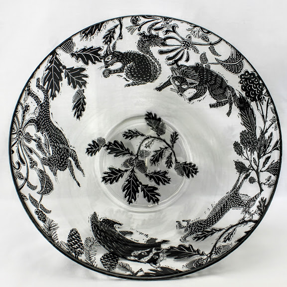 glass serving bowl deer, fox ,hare, badger and squirrel woodland scene