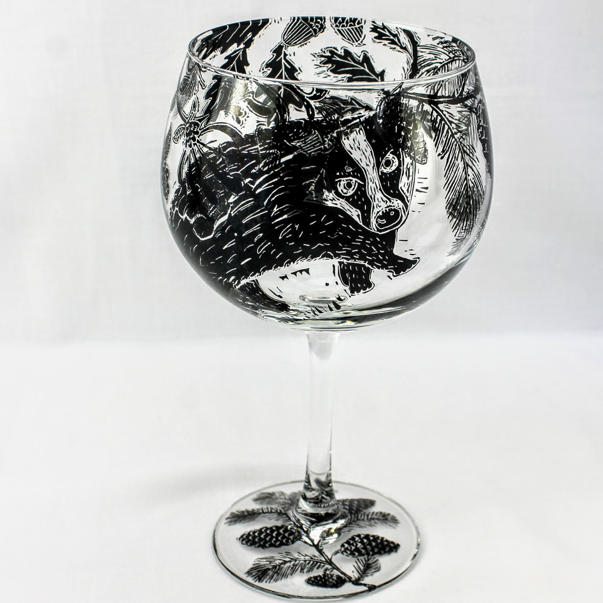 G & T stem cocktail glass with woodland scene and a badger