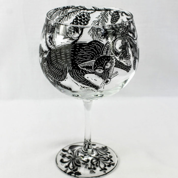 G & T glass stemware wild woodland scene with sly fox
