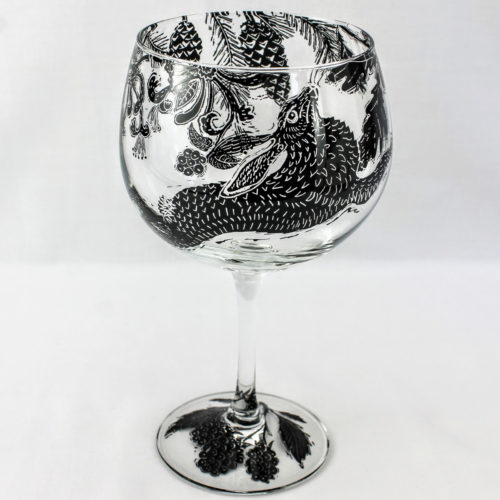 G & T glass dancing Hare in a honeysuckle and pine wood