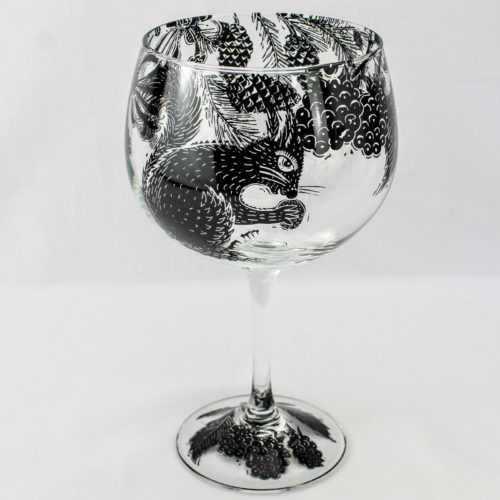 G & T glass red squirrel in a blackberry woodland glade