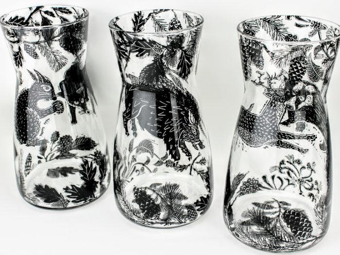 glass carafes british wild animal woodland scenes
