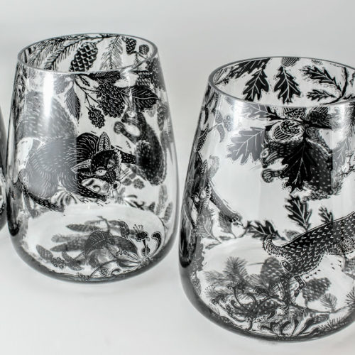 2 glass vases british wild animal woodland scene