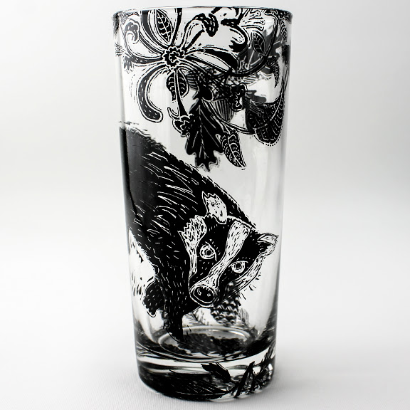 highball glass badger in a pine honeysuckle forest