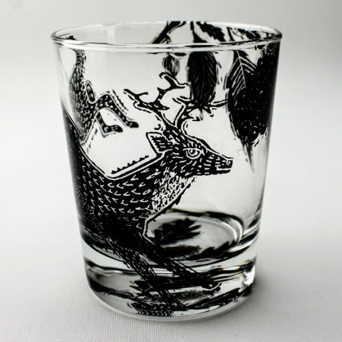 whiskey tumbler deer in a bramble hedge