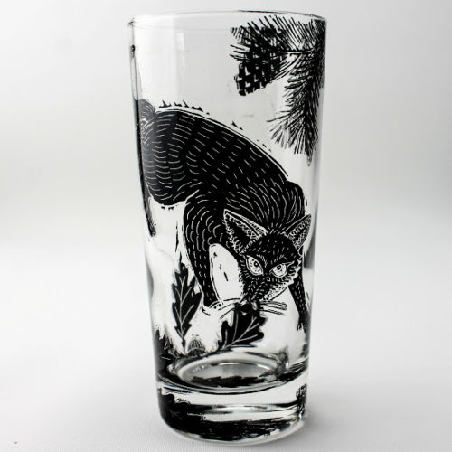 highball glass British fox in a woodland scene