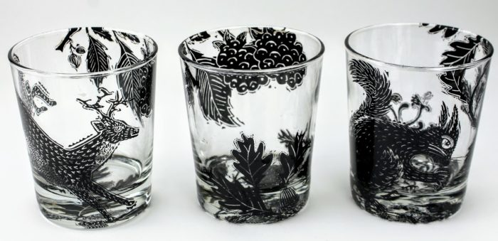 3 whiskey tumblers british forest scene