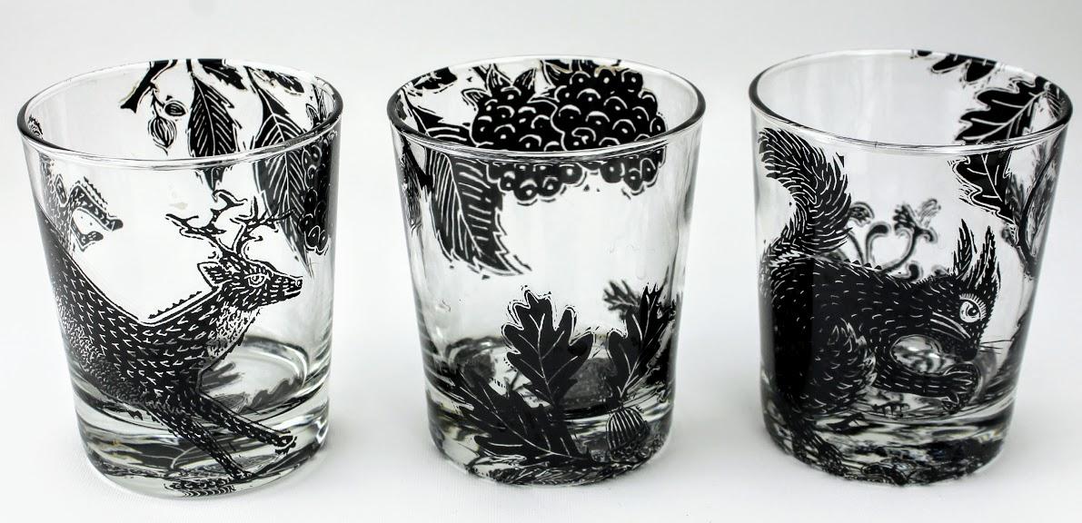 3 whiskey tumblers british forest scene