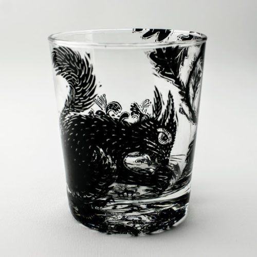 whiskey tumbler squirrel in a oak forest scene