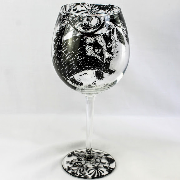 wine glass british badger in a hedge row