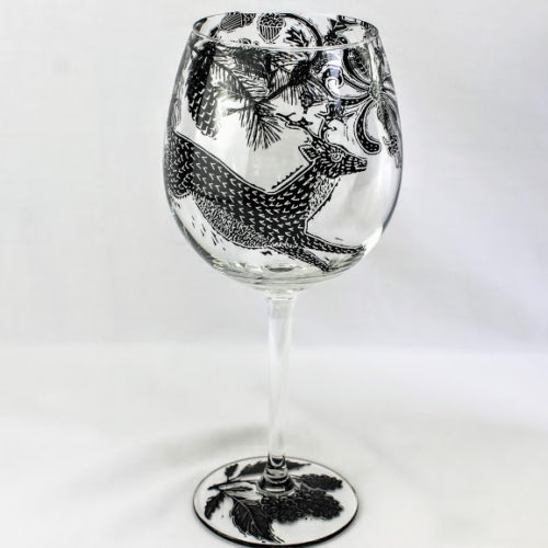 wine glass deer in a honeysuckle glade