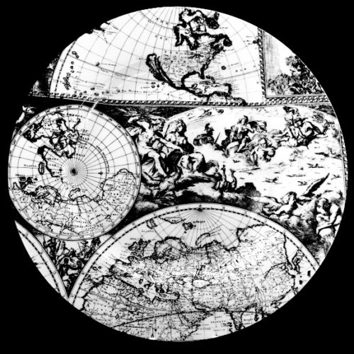 12 inch platter 17 century world map featuring zeus and cherubs europe africa and asia