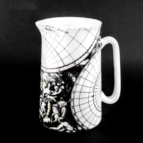 1 pint bone china jug 17 century world map neoclassical bucolic scene