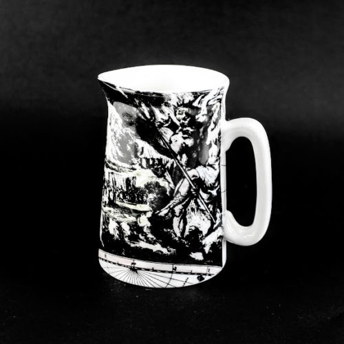 Milk Jug world map neoclassical scene 'Fire' illustrated with a battle scene.