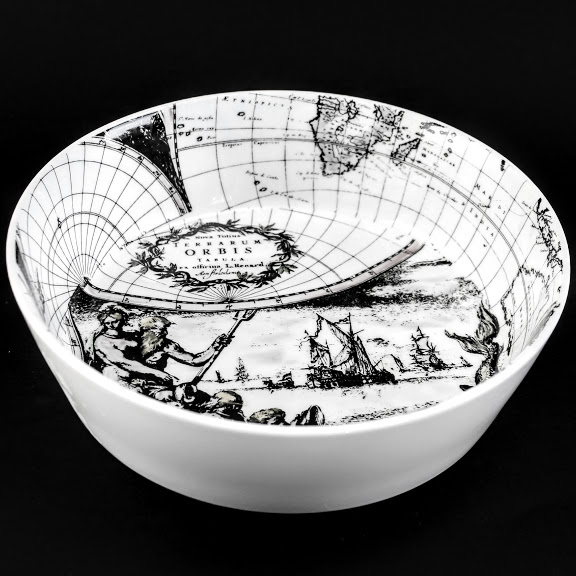 English bone china bowl 17th century dutch map neoclassical neptune sea scene