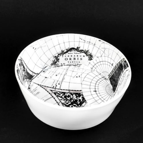 Orbis antique world map small serving bowl