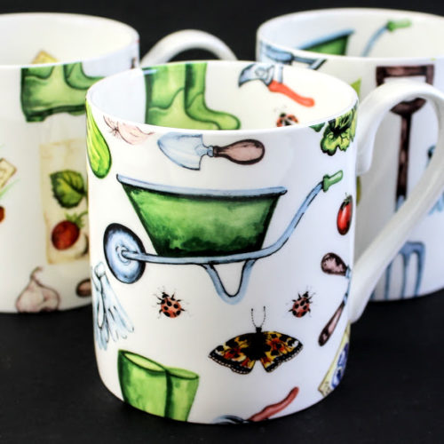 3 Gardening themed bone china mugs with wheelbarrows, wellington boots, secateurs and shears