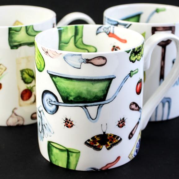3 Gardening themed bone china mugs with wheelbarrows, wellington boots, secateurs and shears