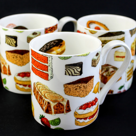 3 English bone china Bake off mugs with Donuts, Victoria sponge, Bakewell, Lemon drizzle and Red Velvet Cake