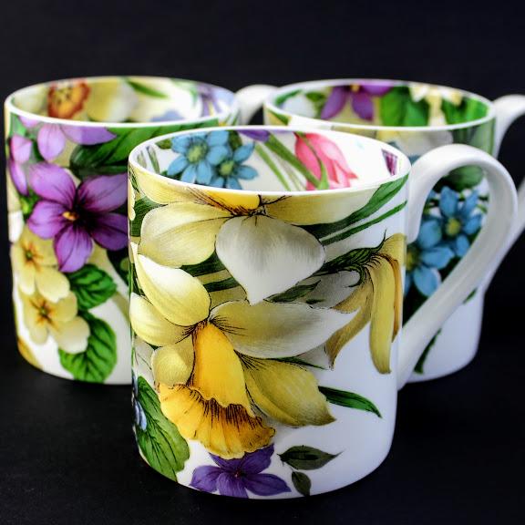 English bone china mugs, spring flowers, daffodils, crocus, narcissi, primroses