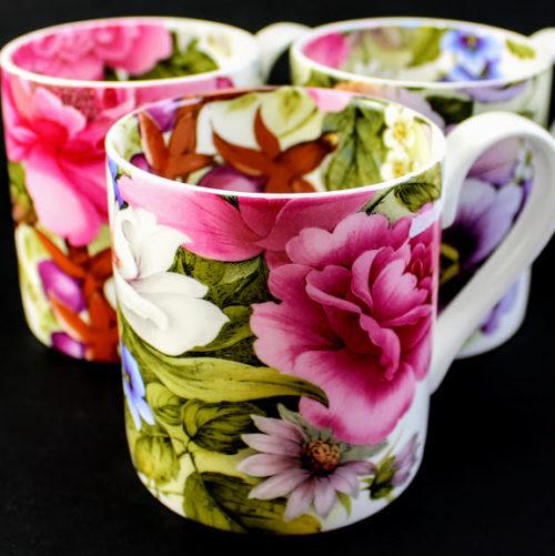 bone china mugs, summer flowers, pink roses, pansy, fushia, daisy, white rose