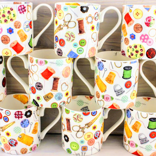 bone china mugs, stitching sewing , bobbins, buttons, thimbles, needles, sisiors.