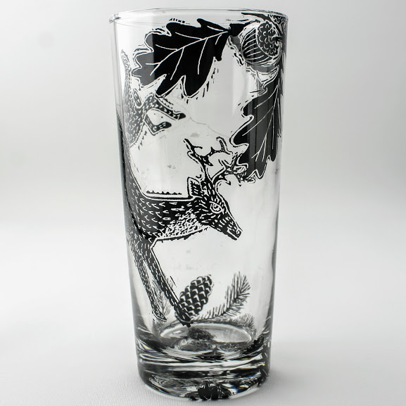 Highball Glass Woodcut style drawing of a deer in a oak glade