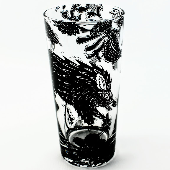 Highball drinking glass English woodland scene of Wild boar ii a honeysuckle and bramble hedge