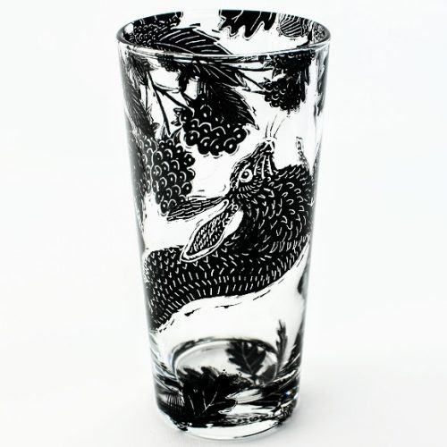 Highball glass woodland wild animals Hare in a blackberry bush