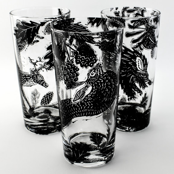3 highball drinking glasses woodcut style woodland scene of Hare, Deer and Wild Boar